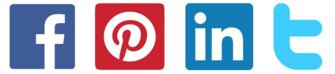 icônes partage réseaux sociaux Facebook Pinterest LinkedIn Twitter